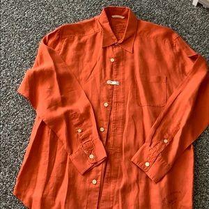Tommy Bahama long sleeve linen shirt. Rusty color